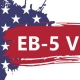 banner in the form of an abstract American flag with text of EB-5 Visa