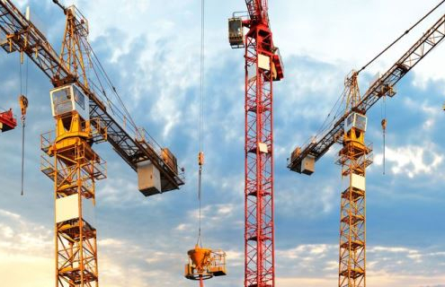 8218901 - cranes on building site in panoramic image